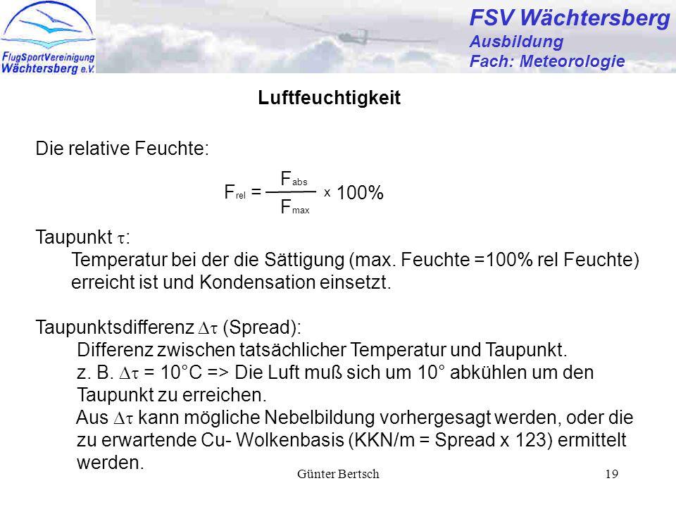 FSV Wächtersberg Luftfeuchtigkeit Die relative Feuchte: Fabs Frel =