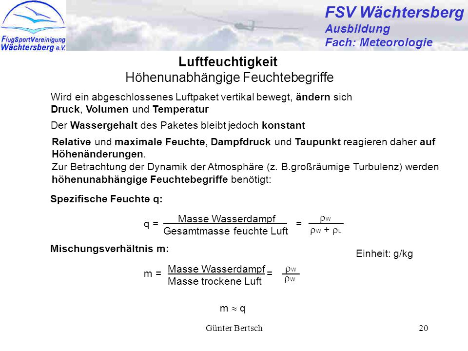 FSV Wächtersberg Luftfeuchtigkeit Höhenunabhängige Feuchtebegriffe