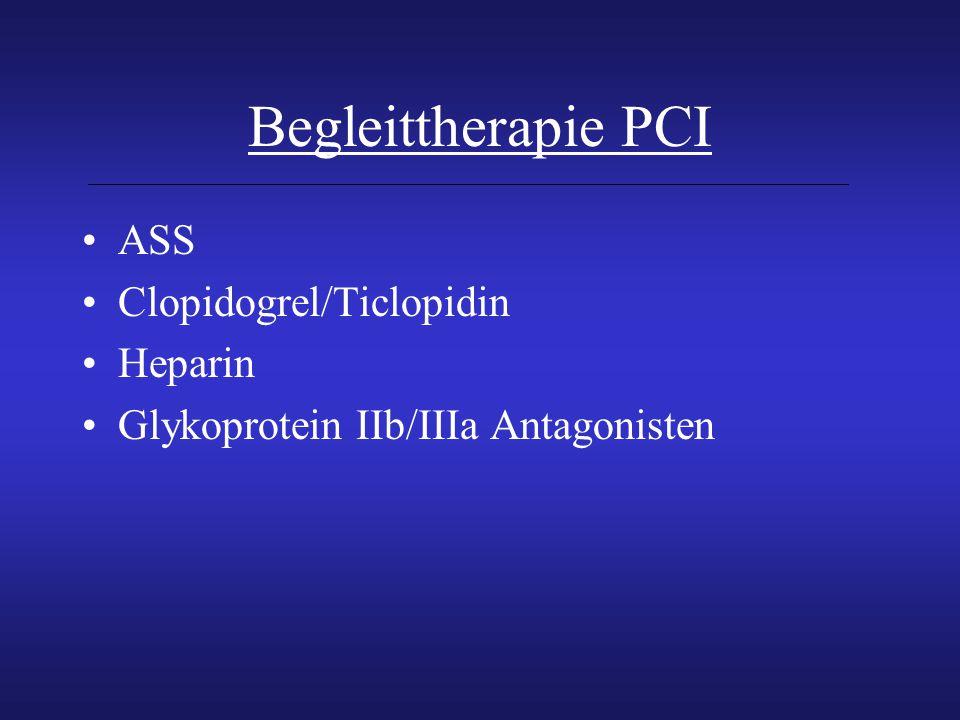 Begleittherapie PCI ASS Clopidogrel/Ticlopidin Heparin