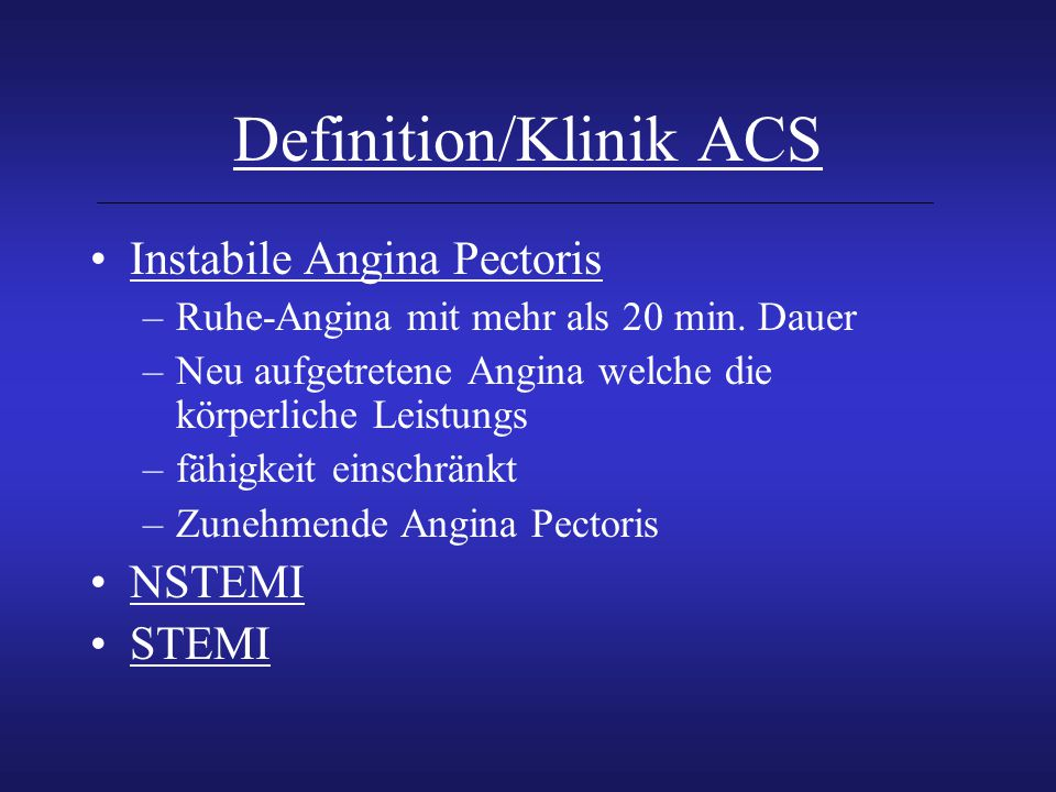 Definition/Klinik ACS