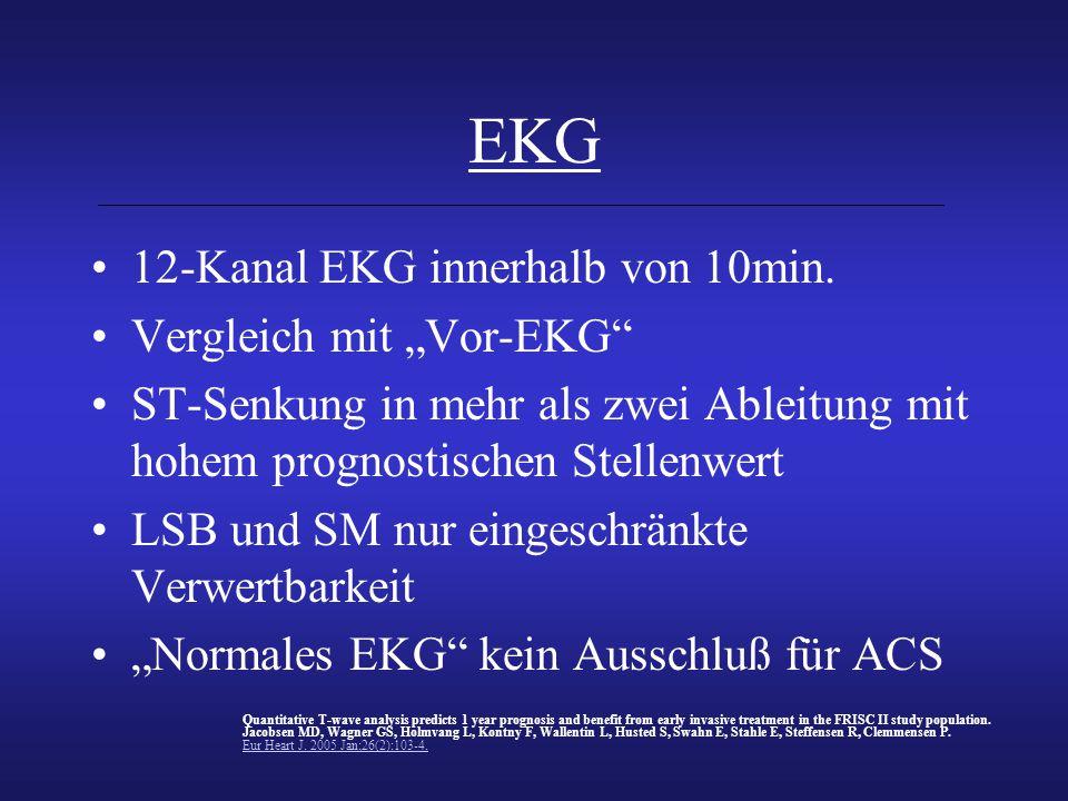 """EKG 12-Kanal EKG innerhalb von 10min. Vergleich mit """"Vor-EKG"""