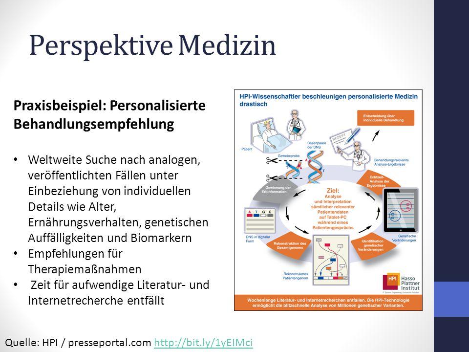 Perspektive Medizin Praxisbeispiel: Personalisierte Behandlungsempfehlung.