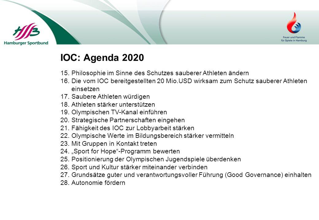IOC: Agenda 2020 Philosophie im Sinne des Schutzes sauberer Athleten ändern.