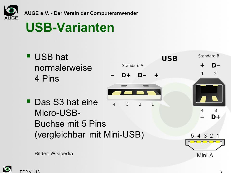 USB-Varianten USB hat normalerweise 4 Pins
