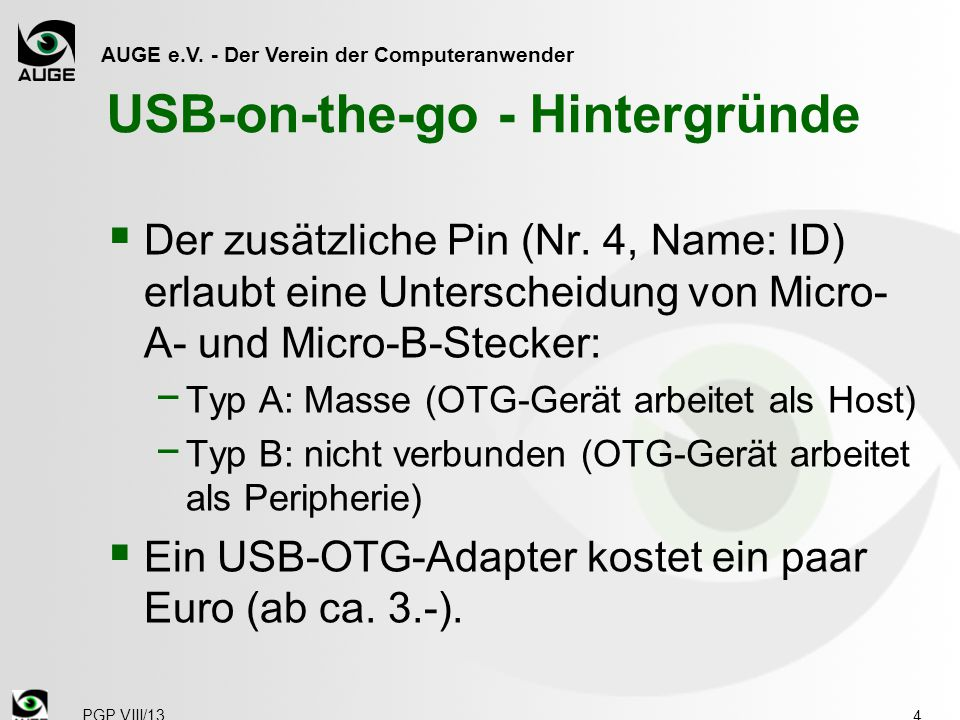 USB-on-the-go - Hintergründe
