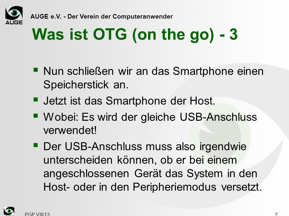 Was ist OTG (on the go) - 3 Nun schließen wir an das Smartphone einen Speicherstick an. Jetzt ist das Smartphone der Host.
