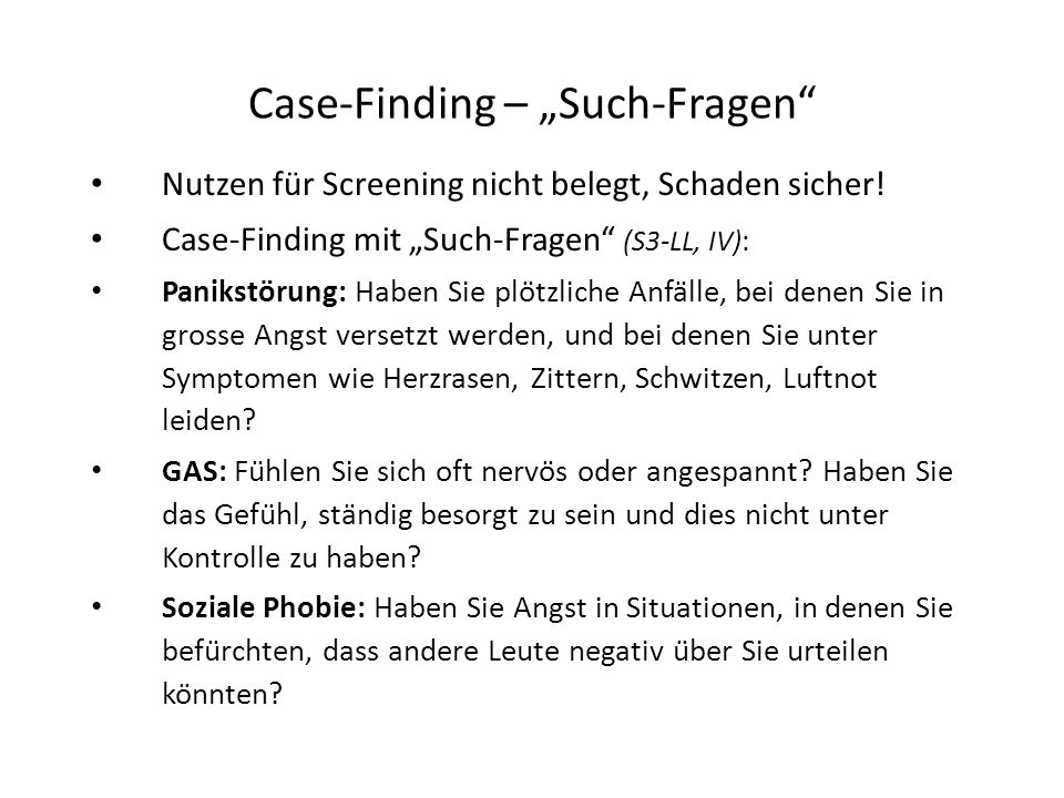 "Case-Finding – ""Such-Fragen"