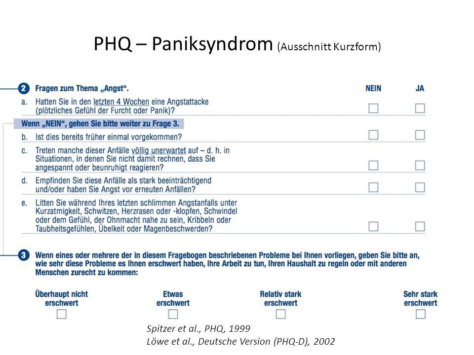 PHQ – Paniksyndrom (Ausschnitt Kurzform)