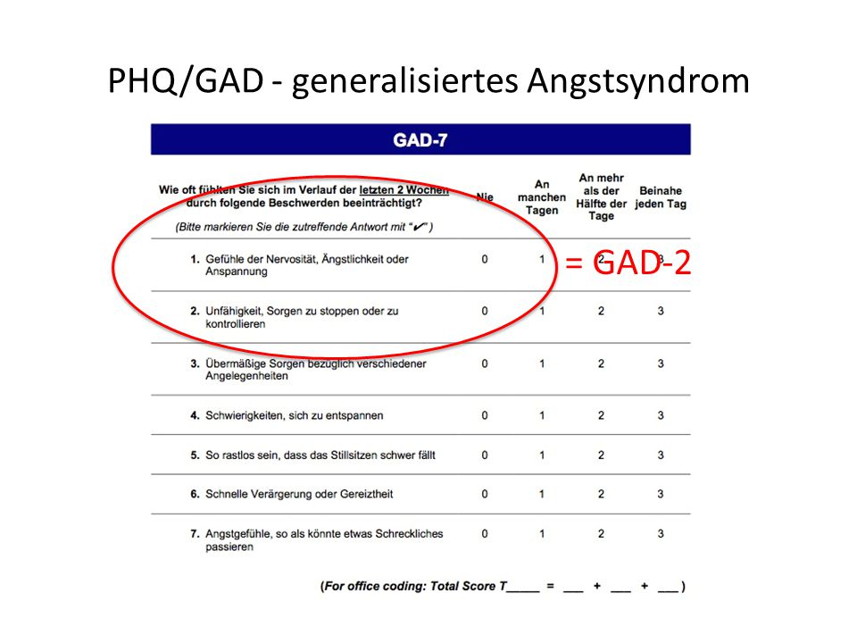 PHQ/GAD - generalisiertes Angstsyndrom