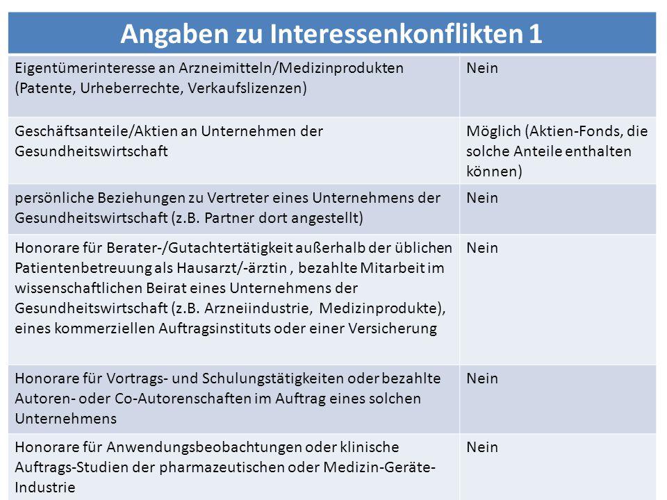 Angaben zu Interessenkonflikten 1