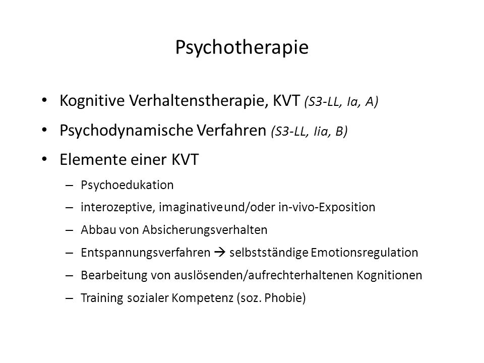 Psychotherapie Kognitive Verhaltenstherapie, KVT (S3-LL, Ia, A)