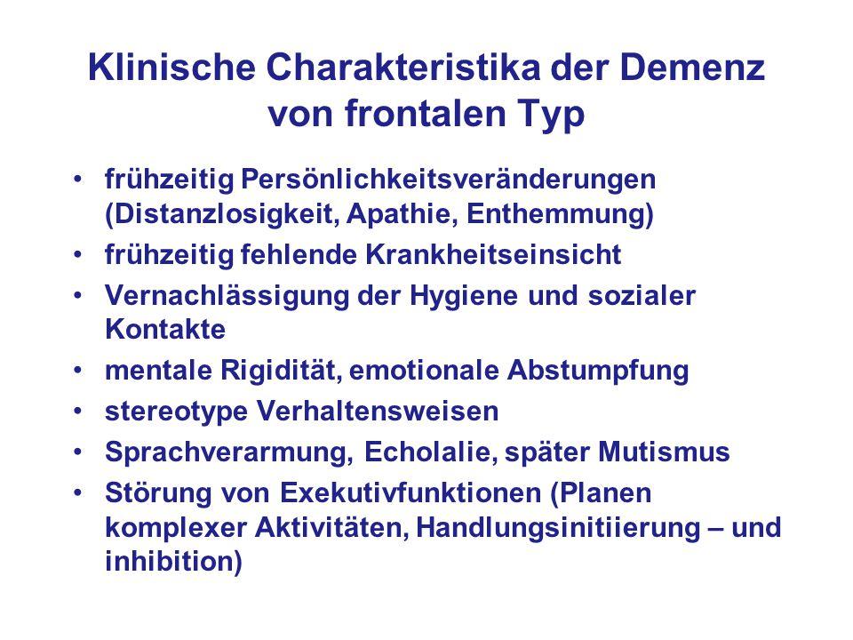 Klinische Charakteristika der Demenz von frontalen Typ