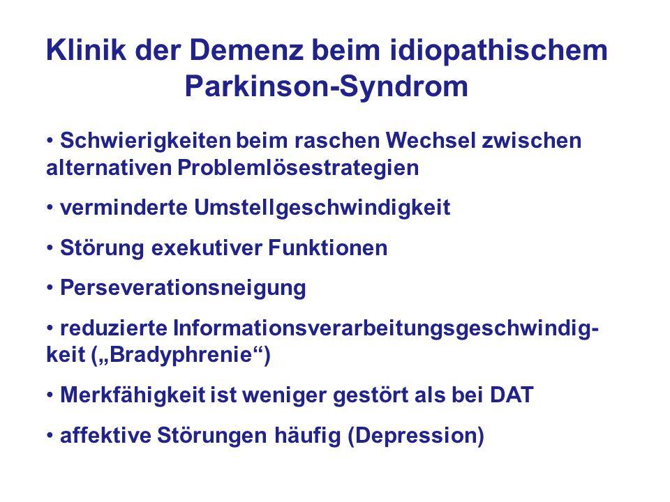 Klinik der Demenz beim idiopathischem Parkinson-Syndrom