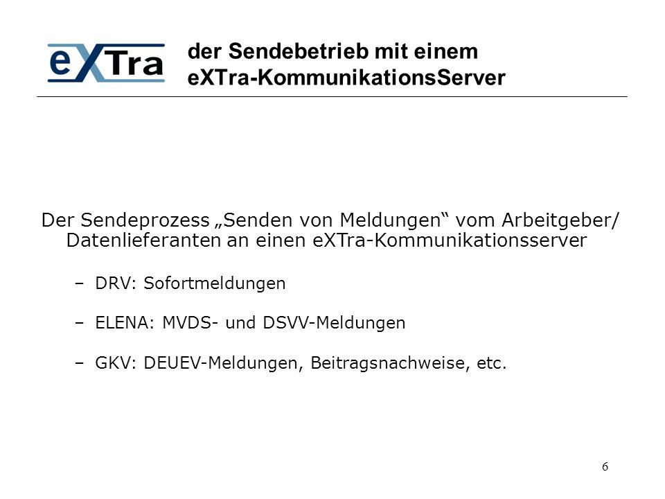 der Sendebetrieb mit einem eXTra-KommunikationsServer
