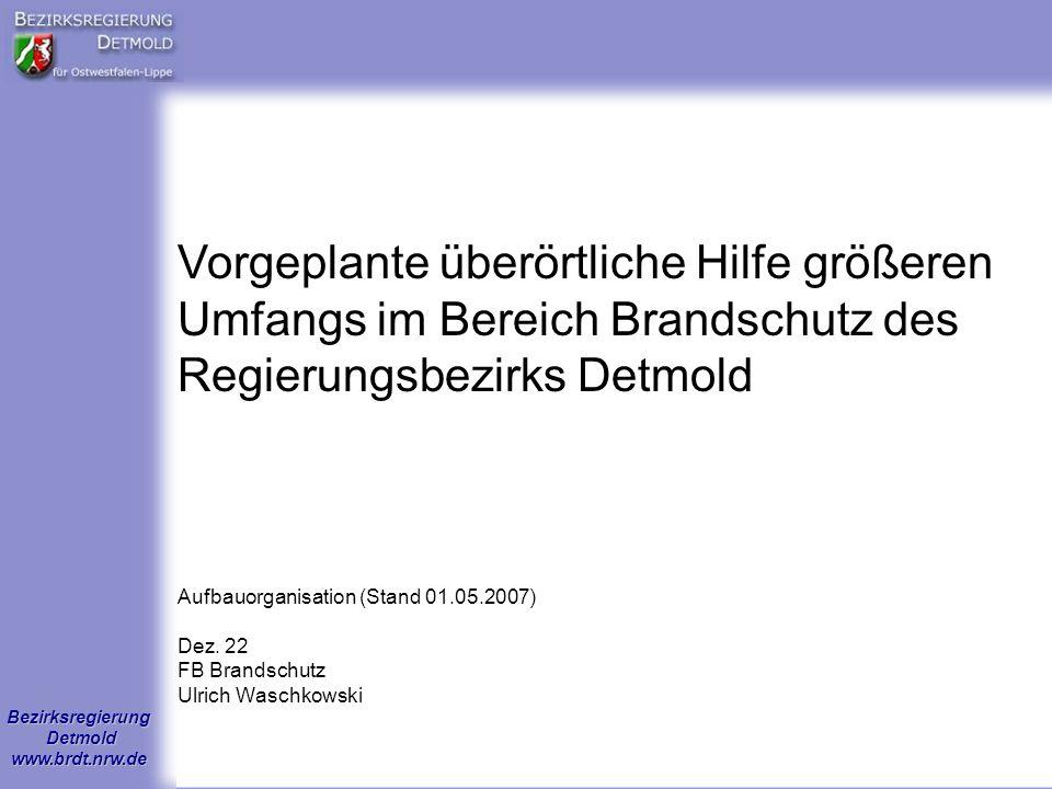 Vorgeplante überörtliche Hilfe größeren Umfangs im Bereich Brandschutz des Regierungsbezirks Detmold