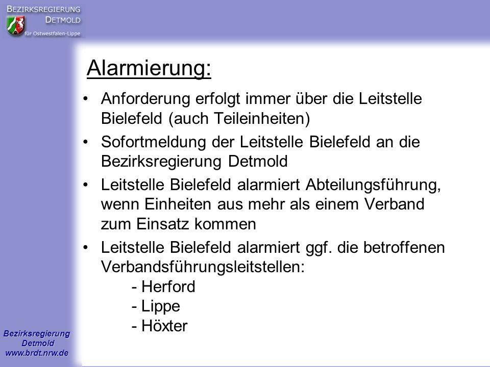 Alarmierung: Anforderung erfolgt immer über die Leitstelle Bielefeld (auch Teileinheiten)