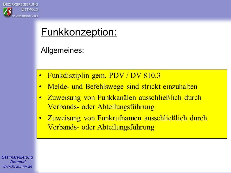 Funkkonzeption: Allgemeines: Funkdisziplin gem. PDV / DV 810.3