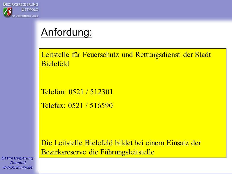 Anfordung: Leitstelle für Feuerschutz und Rettungsdienst der Stadt Bielefeld. Telefon: 0521 / 512301.