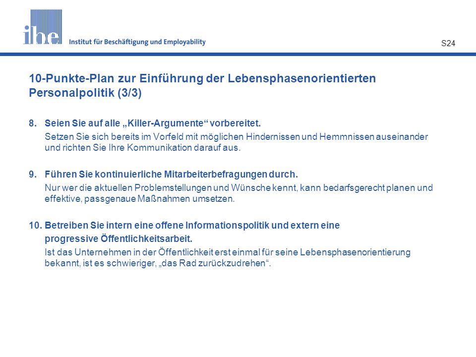 10-Punkte-Plan zur Einführung der Lebensphasenorientierten Personalpolitik (3/3)