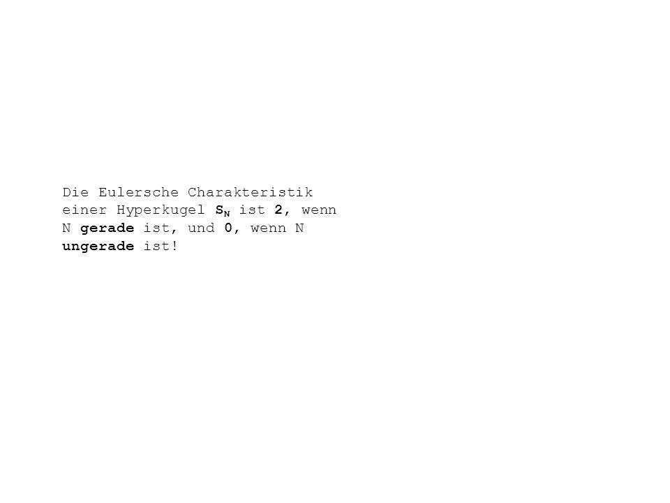 Die Eulersche Charakteristik einer Hyperkugel SN ist 2, wenn N gerade ist, und 0, wenn N ungerade ist!