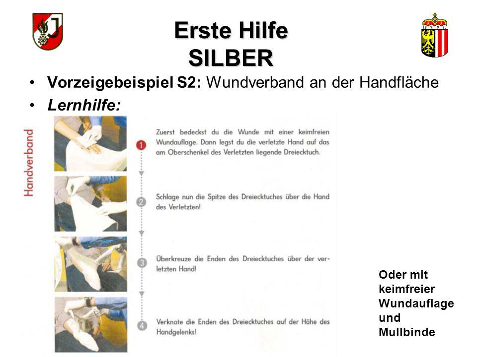 Erste Hilfe SILBER Vorzeigebeispiel S2: Wundverband an der Handfläche