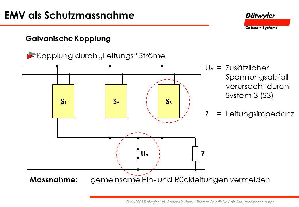 """Galvanische Kopplung Kopplung durch """"Leitungs Ströme. Ua = Zusätzlicher. Spannungsabfall. verursacht durch."""