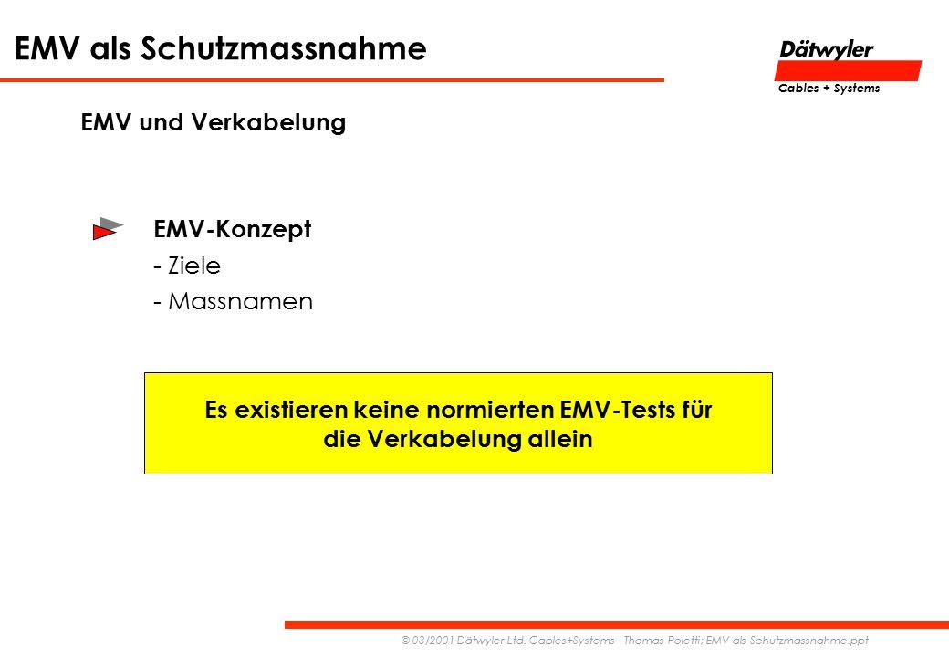 Es existieren keine normierten EMV-Tests für die Verkabelung allein