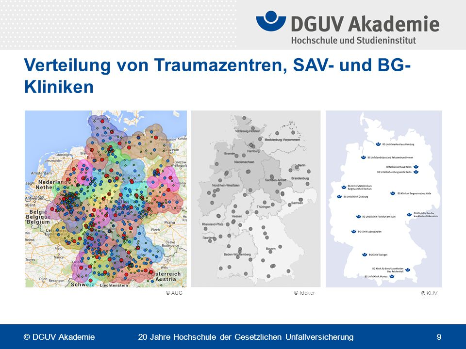 Verteilung von Traumazentren, SAV- und BG-Kliniken