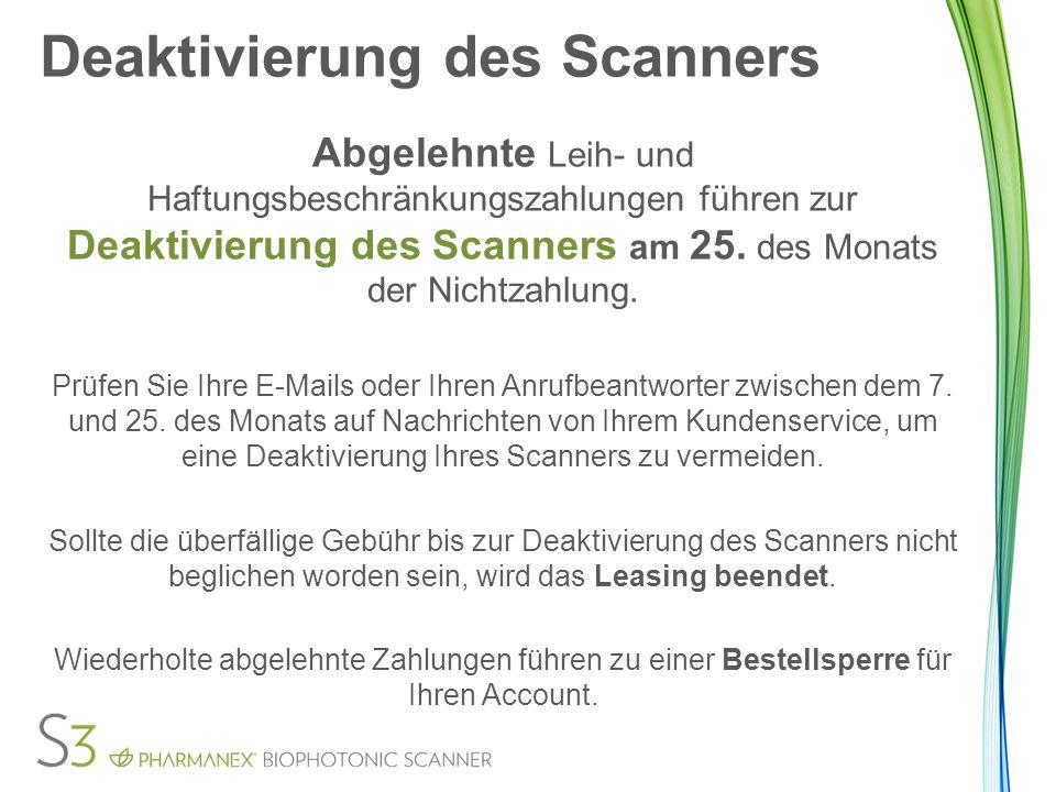 Deaktivierung des Scanners