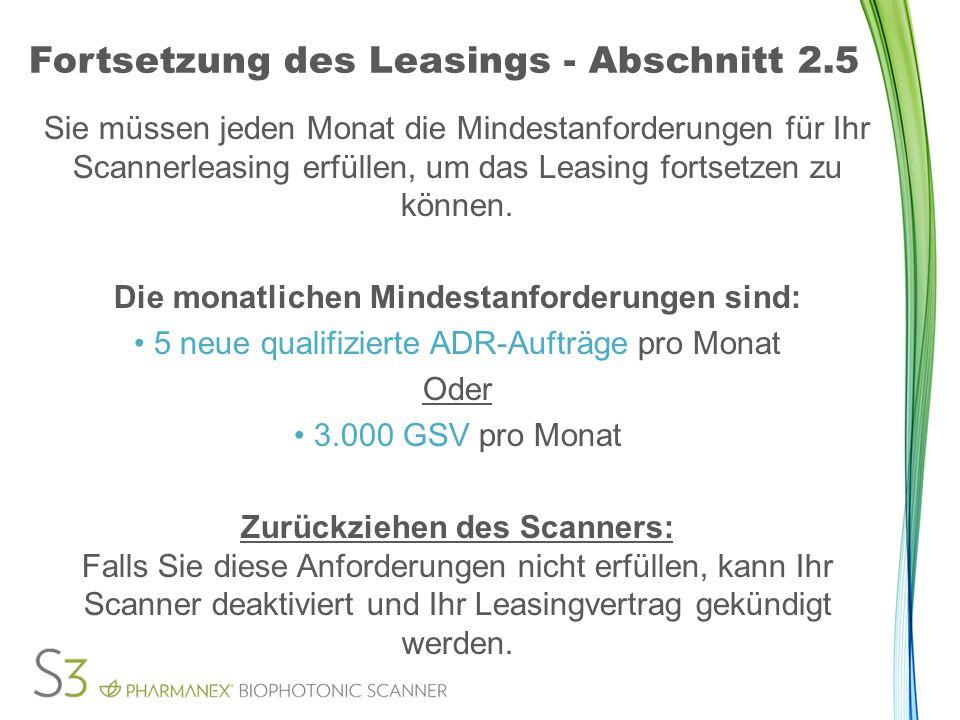 Fortsetzung des Leasings - Abschnitt 2.5