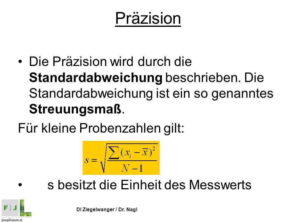 Präzision Die Präzision wird durch die Standardabweichung beschrieben. Die Standardabweichung ist ein so genanntes Streuungsmaß.