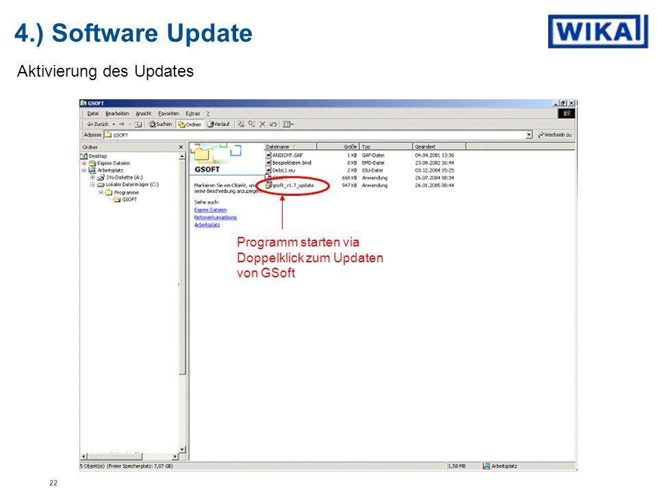 4.) Software Update Aktivierung des Updates