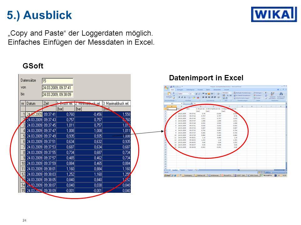 """5.) Ausblick """"Copy and Paste der Loggerdaten möglich. Einfaches Einfügen der Messdaten in Excel. GSoft."""