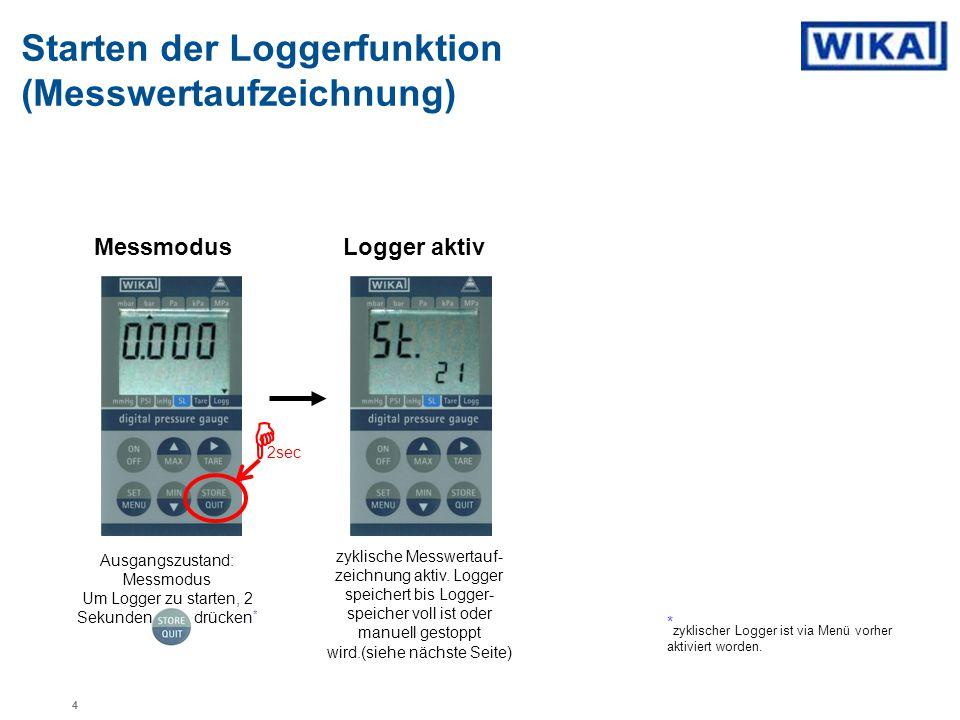 Ausgangszustand: Messmodus Um Logger zu starten, 2 Sekunden drücken*