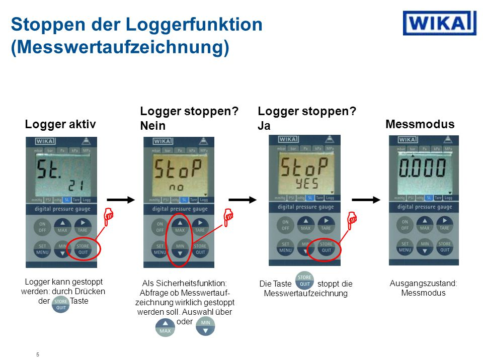 H H H Stoppen der Loggerfunktion (Messwertaufzeichnung)