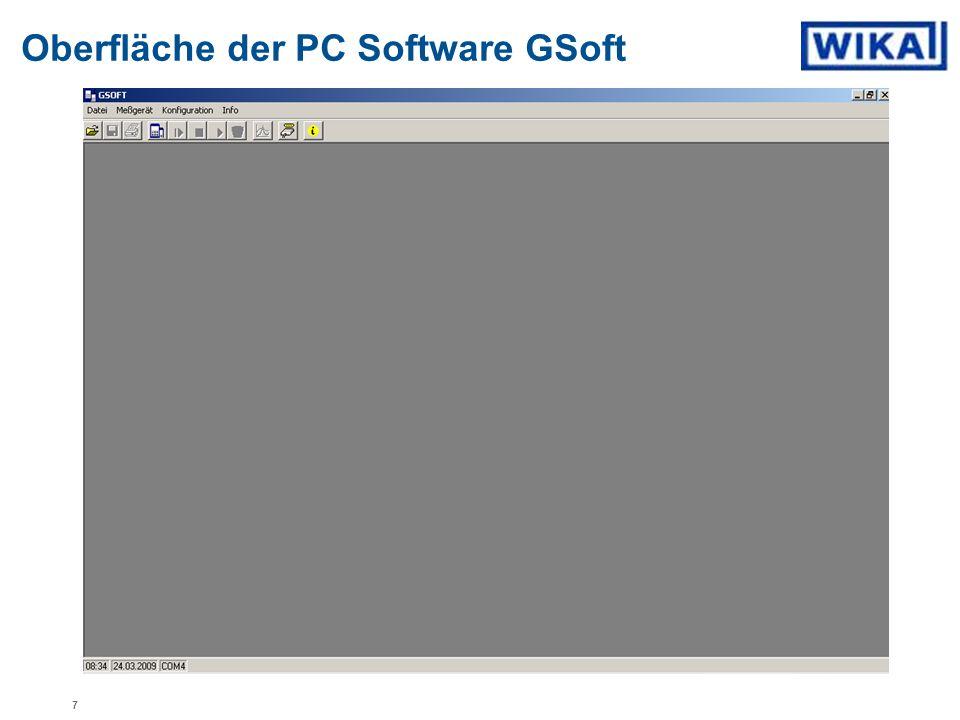Oberfläche der PC Software GSoft