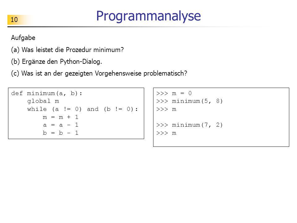 Programmanalyse Aufgabe (a) Was leistet die Prozedur minimum