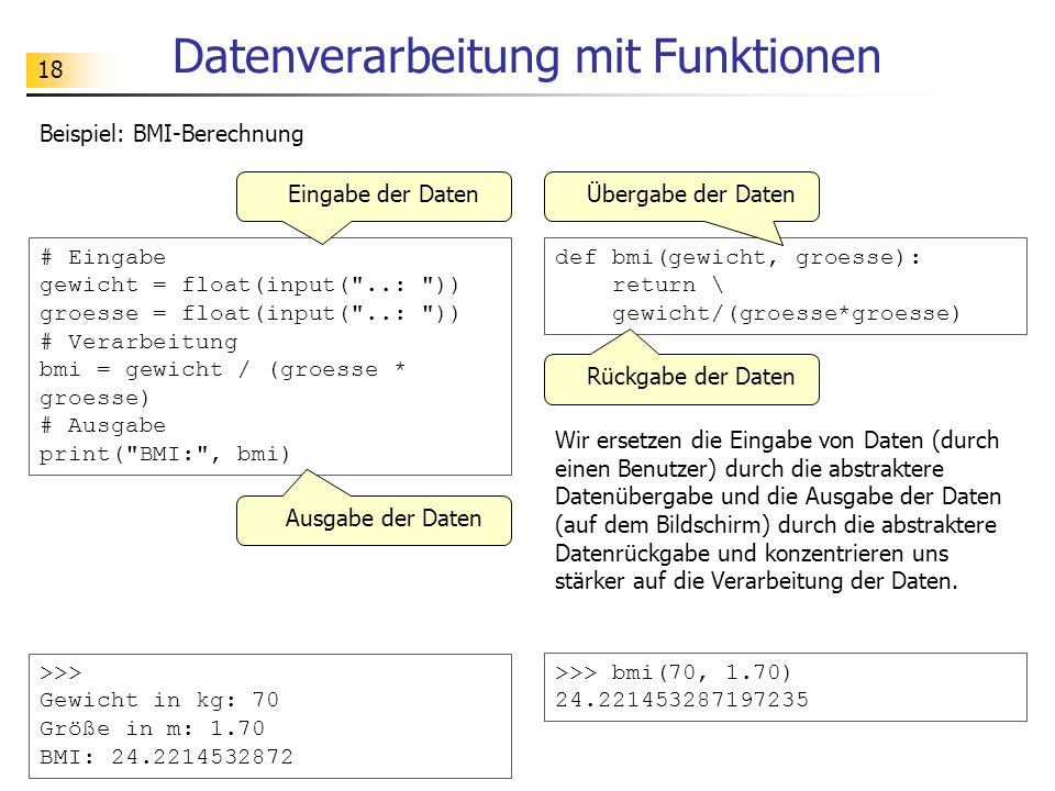 Datenverarbeitung mit Funktionen