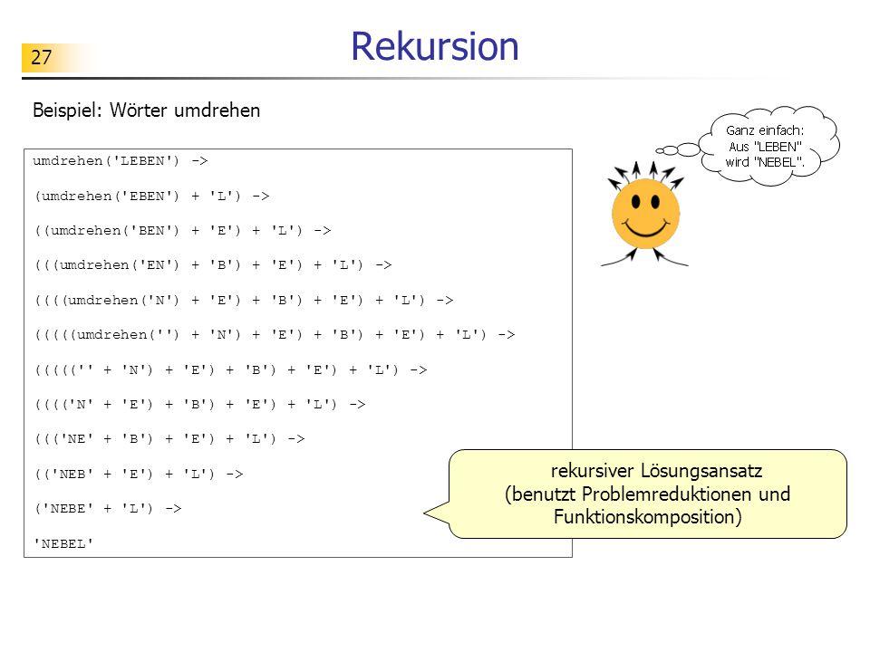 Rekursion Beispiel: Wörter umdrehen