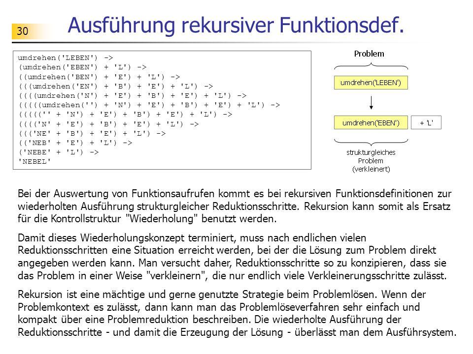 Ausführung rekursiver Funktionsdef.