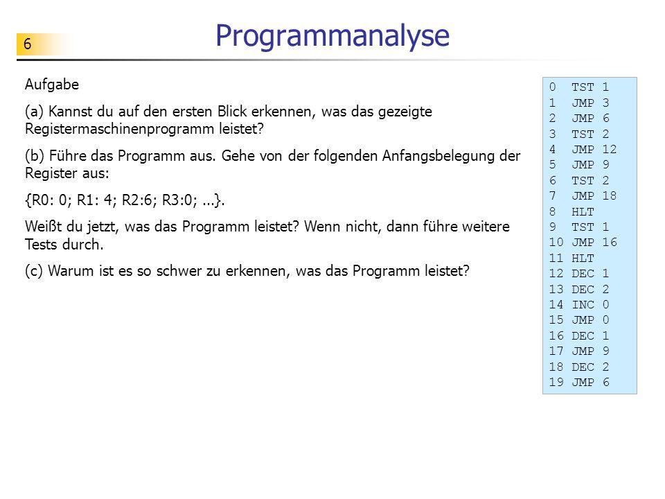 Programmanalyse Aufgabe