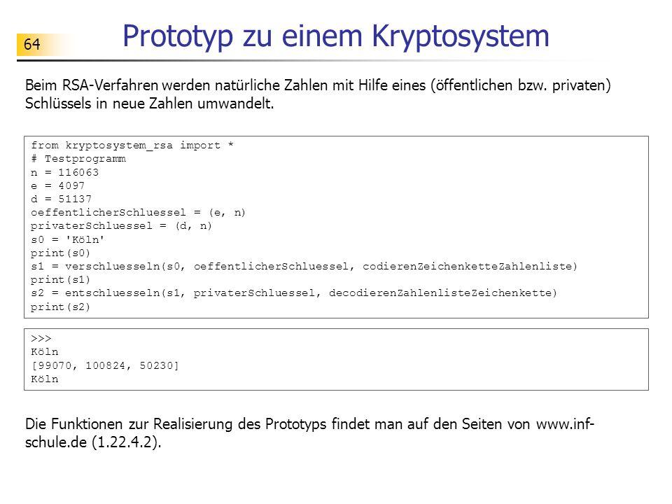Prototyp zu einem Kryptosystem