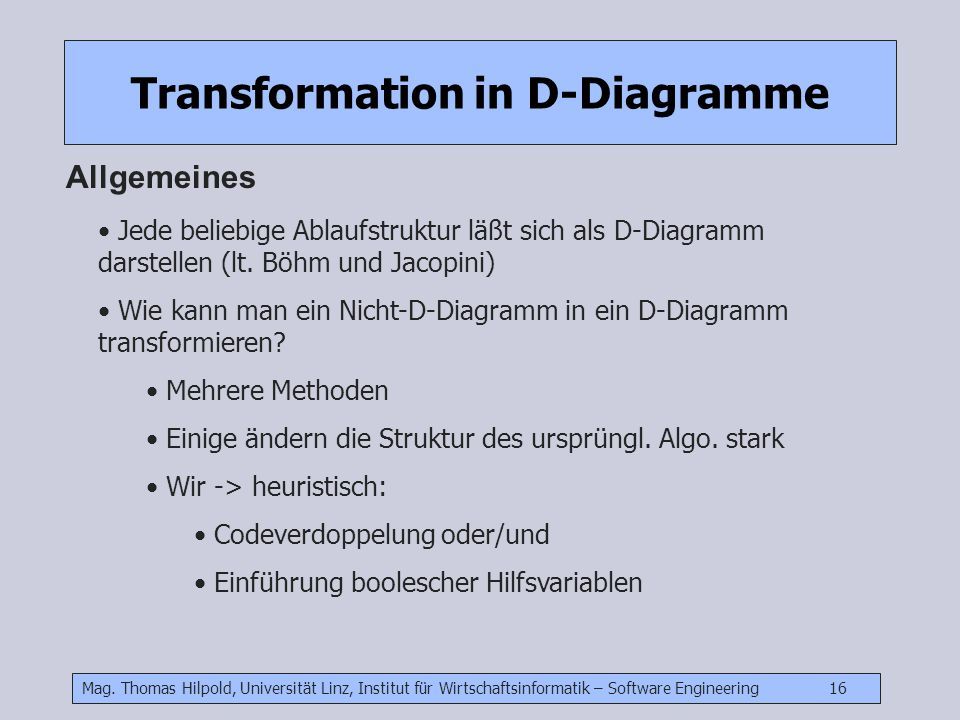 Transformation in D-Diagramme