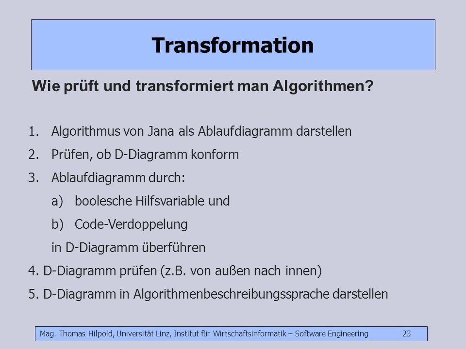 Transformation Wie prüft und transformiert man Algorithmen