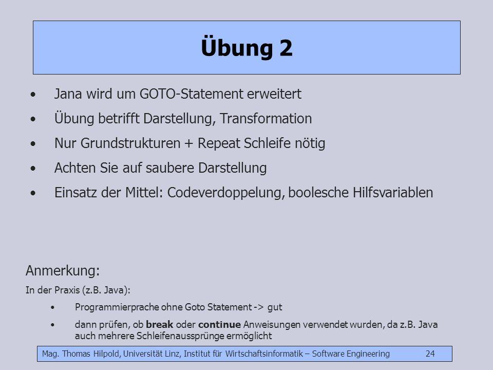 Übung 2 Jana wird um GOTO-Statement erweitert