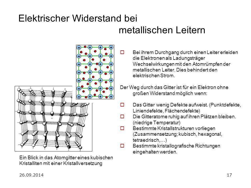 Elektrischer Widerstand bei metallischen Leitern