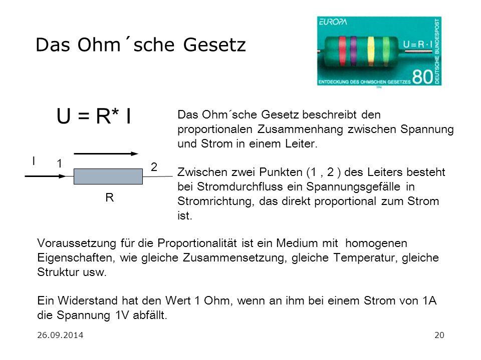 U = R* I Das Ohm´sche Gesetz