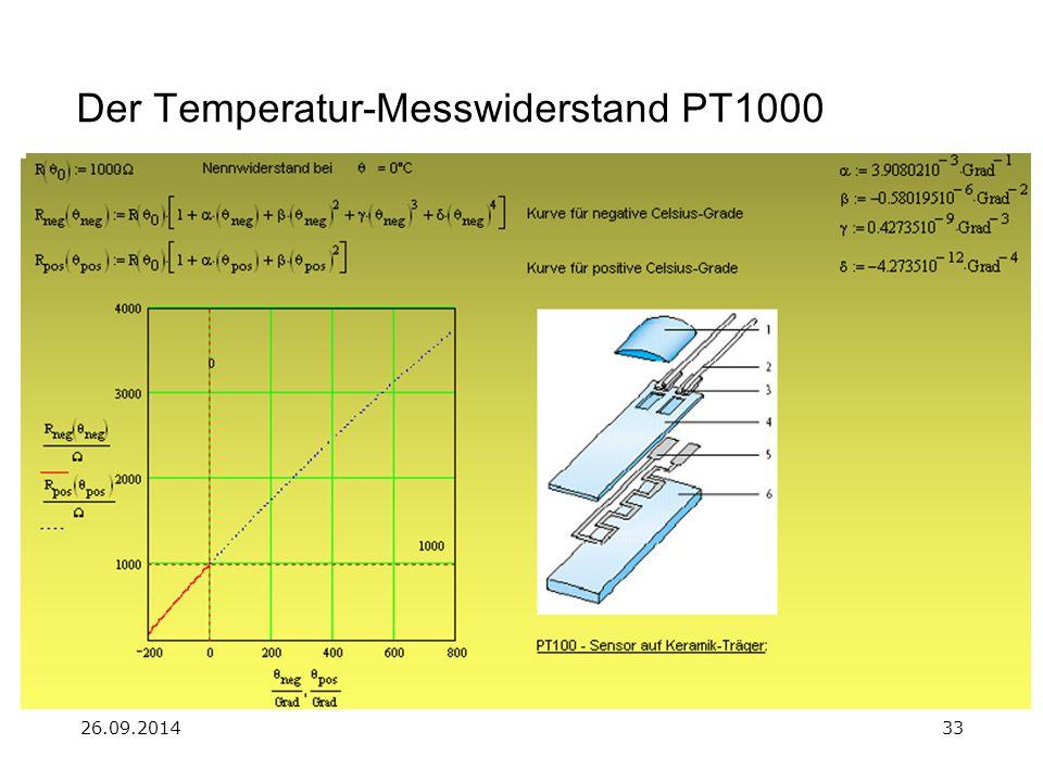 Der Temperatur-Messwiderstand PT1000