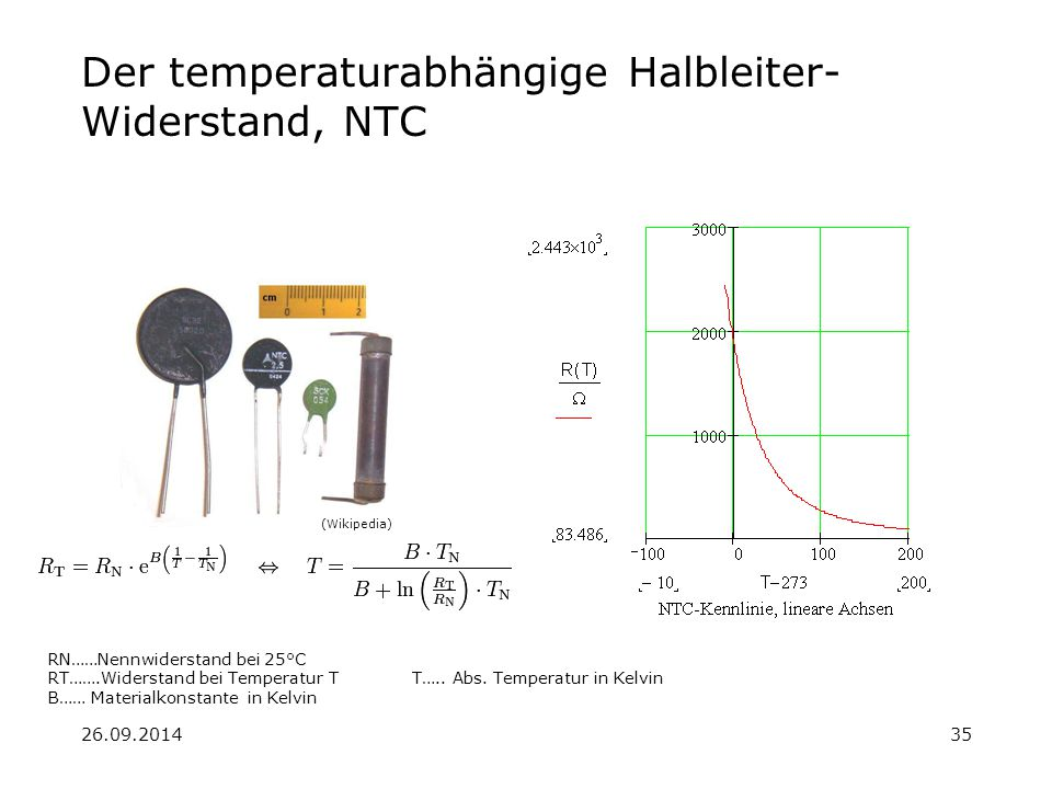 Der temperaturabhängige Halbleiter-Widerstand, NTC