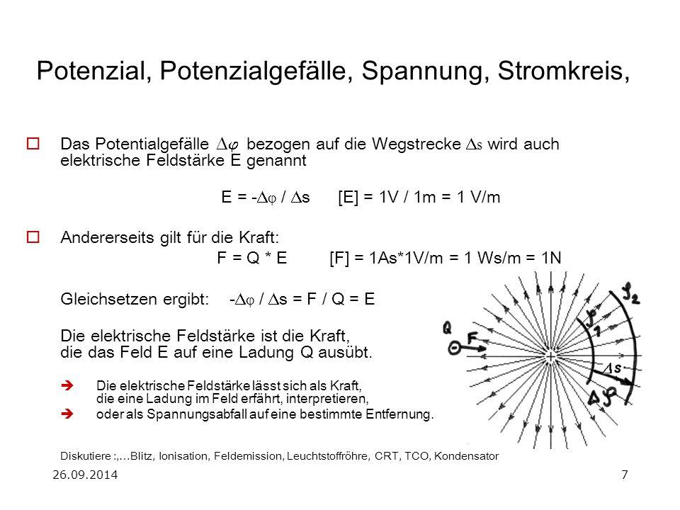 Potenzial, Potenzialgefälle, Spannung, Stromkreis,